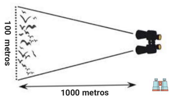 campo de vision de prismaticos 10x50