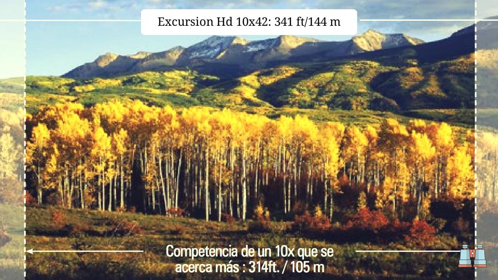 10% más de campo de visión de bushnell excursion HD 10 x42